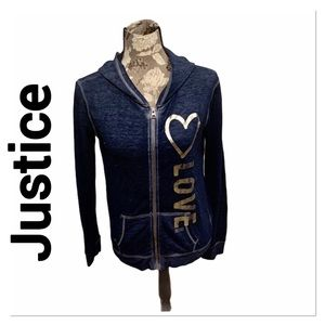 JUSTICE Blue Foil Heart ZIP Up Hoodie size 14
